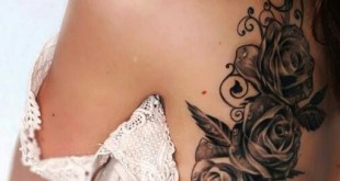 Blumenranken Tattoo auf der Schulter